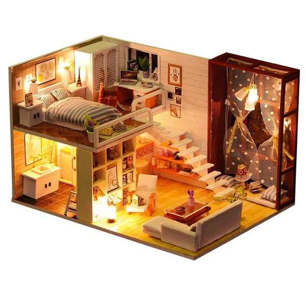Doll House Miniature Dollhouse Kit  Toys For Children New Year Christmas Gift