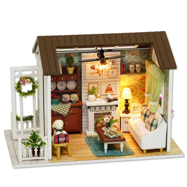Doll House Miniature DIY Dollhouse With Furnitures Wooden House Toys Gift Z007
