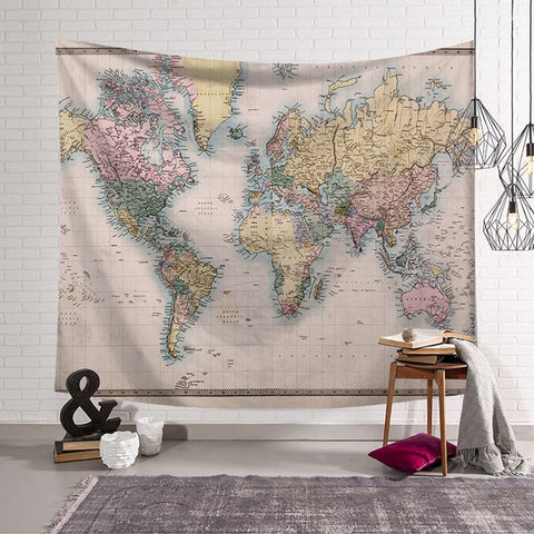 Nordic Style Vintage World Map Tapestry Wall Hanging Polyster Beach Towel Polyester Thin Blanket Yoga Shawl Mat