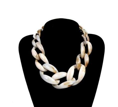 Acrylic Chunky Chain Long Necklace Vintage Resin Big Choker Pendant