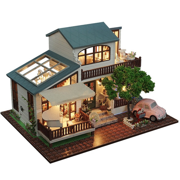 DIY Doll House Miniature Dollhouse With Furnitures Wooden Miniaturas Toys For Children Gift A