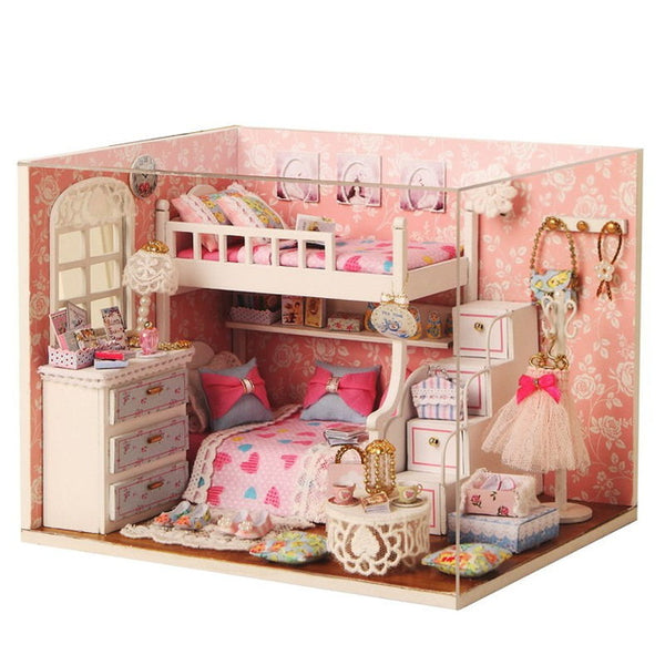 Mini Doll House For Kids Toy Wooden Furniture Miniatura Diy Toys H05