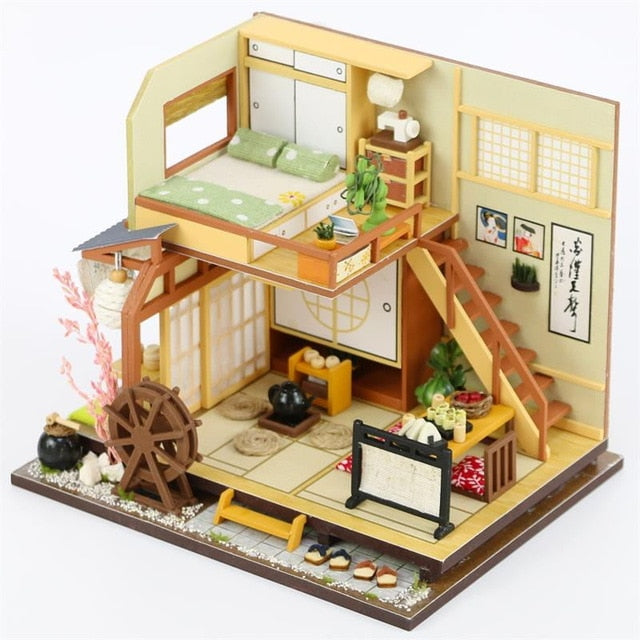 Wooden Doll Houses Miniature dollhouse Furniture Kit Toys for children M034