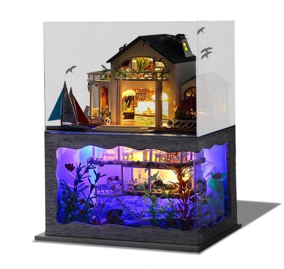 Diy Handmade Pretty Hawaii Model Doll House with dust cover Acousto-optic Hut Gift