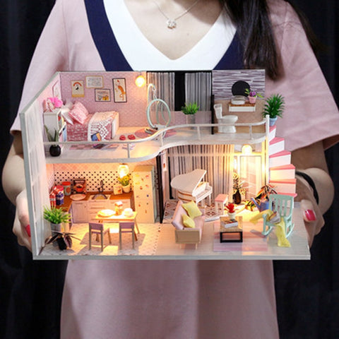 Doll House Miniature With Furnitures Diy Anna's pink melody M035