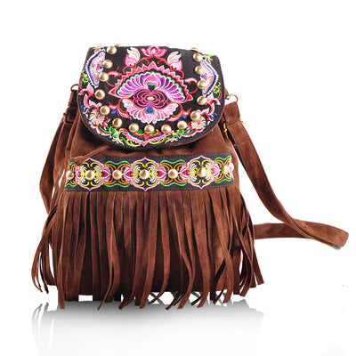 Bohemian Floral Embroidered Women Hasp Backrucks Nice Embossing Backrack