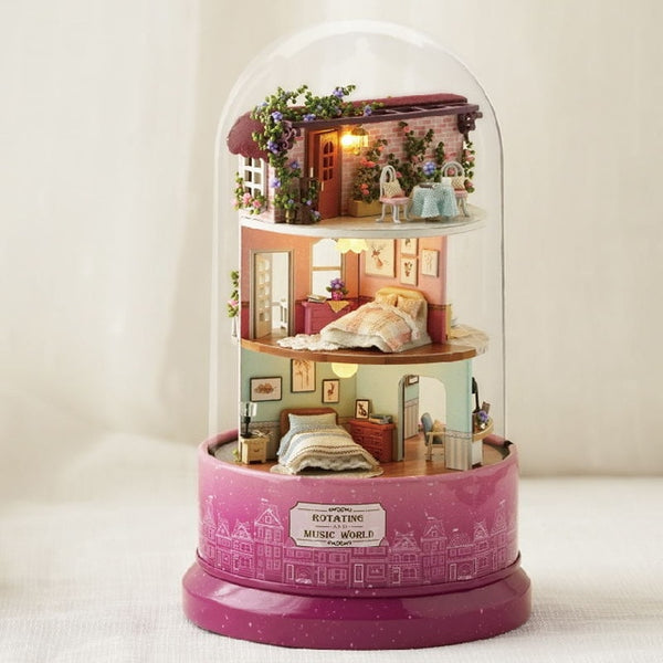 Miniature DIY Doll House With Furnitures Christmas house Toys For Children Birthday Gift Music 30