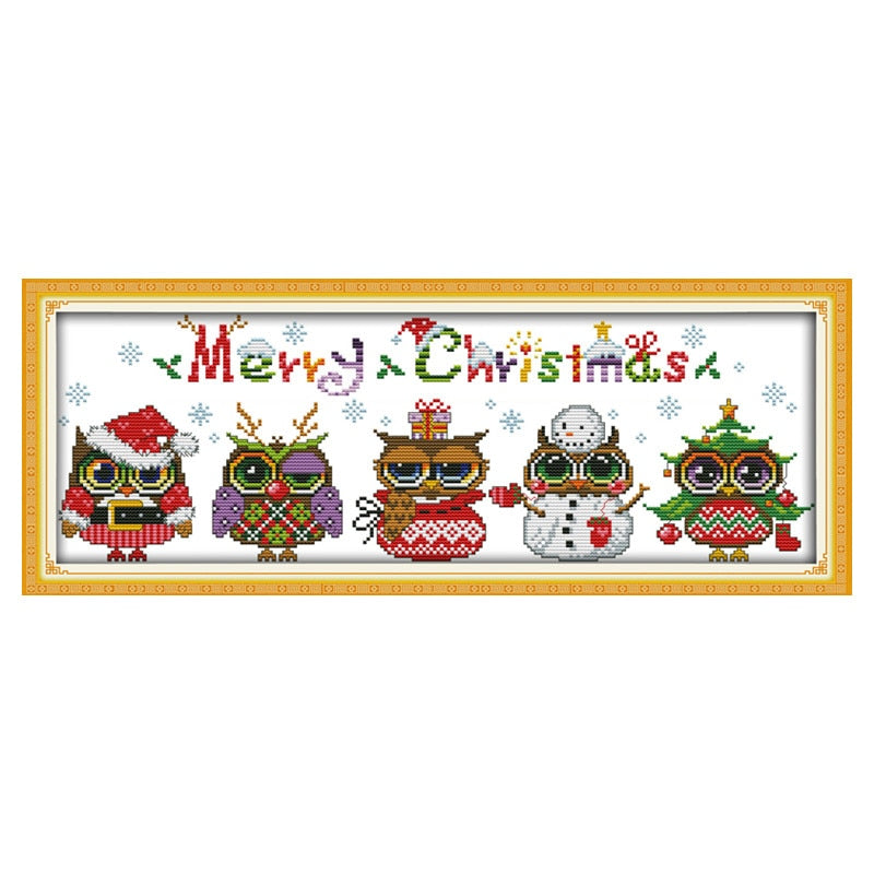 Cross Stitch Kits Christmas Owls Cross Stitch