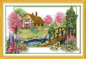 Four Seasons Spring Summer Autumn Winter Home Town House Patterns Counted Cross Stitch DIY