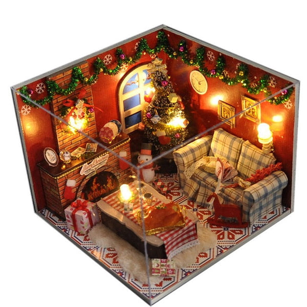 Doll House Miniature DIY Dollhouse Christmas house Toys For birthday Gift TW8