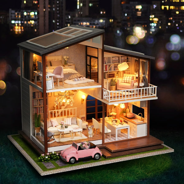 Furnitures Wooden House Cherry Blossom Toys For Children Birthday Gift A080