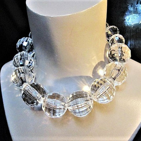 Statement Clear Big Acrylic Ball Choker Necklace Crystal Beaded