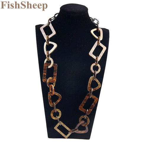Vintage Big Chain Link Acrylic Geometric Collar Long Necklace