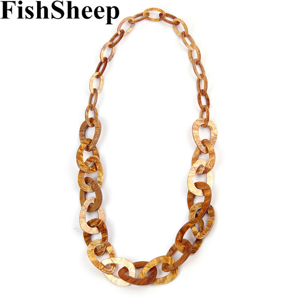 Acrylic Long Chain Necklace Simple Design Plastic Chunky Link Chain Pendant