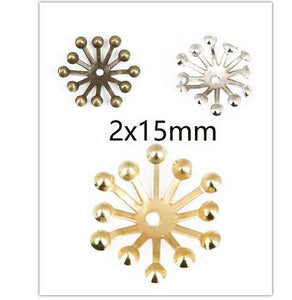 10Pcs Gold/Rhodium/Bronze Metal Crafts Connectors Metal Filigree Flowers Slice Charms