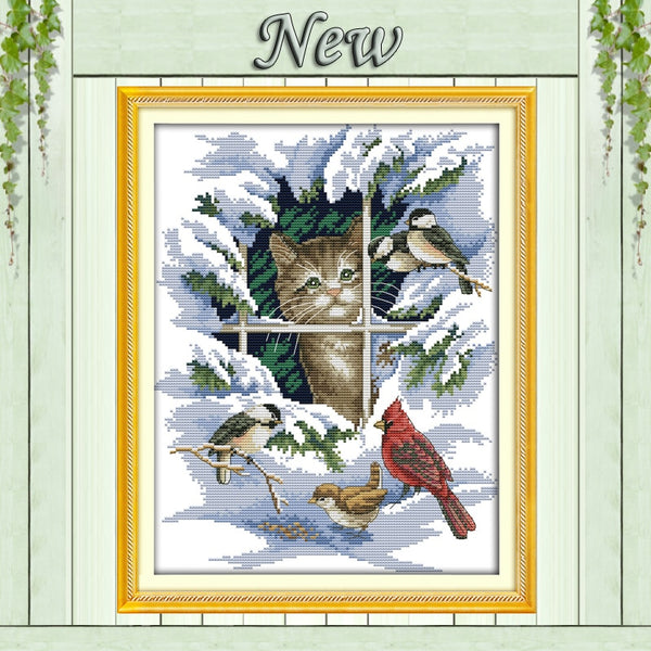 14CT 11CT DMC hand made cross stitch kits snow scenery winter Cat and birds