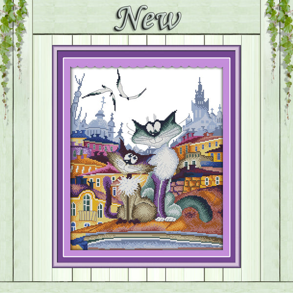 A gorgeous city cat 11CT DMC 14CT Cross Stitch kits