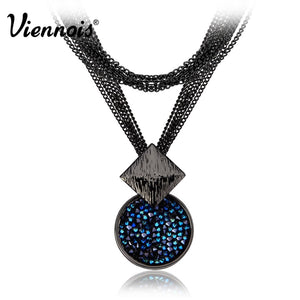 Plated Long Necklaces Of Blue Crystals Dual Length Luxury Round