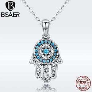 925 Sterling Silver  Hand Long Pendants Fatima Necklace Collar ECN264