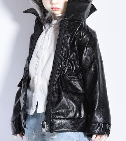 bjd dolls Accessories clothes fits 38cm-45cm 1/4 bjd dolls Black leather + white shirt + jeans