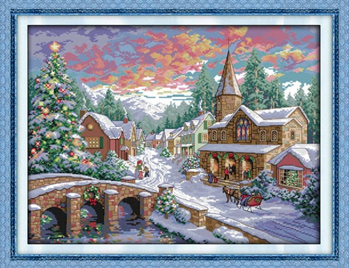 Snowscape Scenery DIY Cross-stitch Kit Needlework 11CT 14CT DMC Chinses Counted