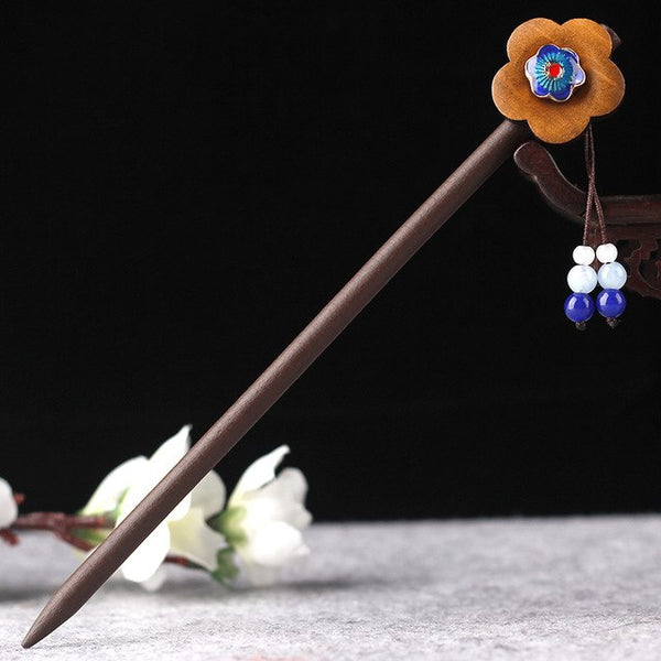 Vinatge Wood Flower Hair Sticks Pins Headpiece Women Prom Hairpins Handmade