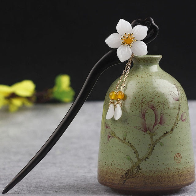Handmade Vintage Wood Chinese Hair Stick Pins Headpiece Flower Hairpins Hair