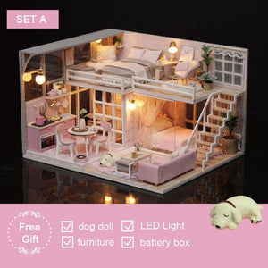 Wooden Doll Houses Miniature dollhouse Furniture Kit Toys for children Christmas Gift  L025