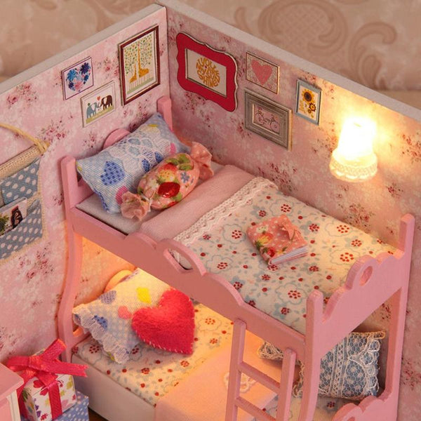 Doll House Furniture Kit DIY Mini Wooden Toy Creative Model Building Toys For Children Gifts