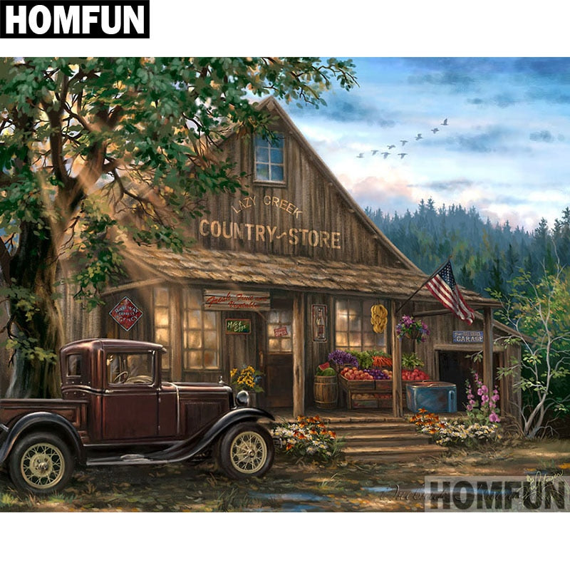 "Full Square/Round Drill 5D DIY Diamond Painting ""Forest House"" Embroidery Cross Stitch 5D Gift A06382"
