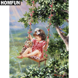 "Full Square/Round Drill 5D DIY Diamond Painting ""Swing girl"" Embroidery Cross Stitch 5D A06369"