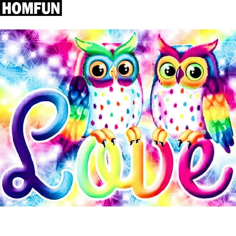 "Full Square/Round Drill 5D DIY Diamond Painting ""Love owl"" Embroidery Cross Stitch 5D A06463"