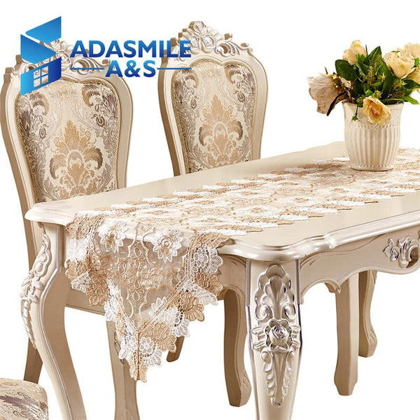 Hot Sale Lace Embroidered Floral Polyester Elegant Table Runner Dinning Table Flag