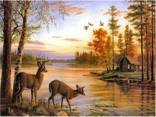 "Full circular Diamond 5D DIY Diamond Painting ""Landscape deers "" Embroidery Cross Stitch Rhinestone"