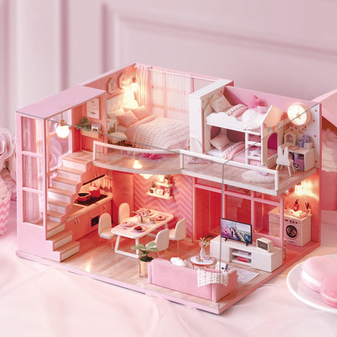 Doll House Wooden Miniature DIY DollHouse Furniture Kit Assemble  Home Toys For Children Girl Gift