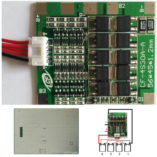 1pc 4S 30A 12V  BMS Packs With Balance For LiFePo4 LiFe