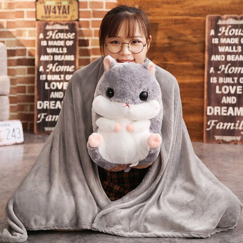 2 Size Hamster Flannel Seat Cushion With Blanket Silk Cotton Core Hand Warmer Pillow