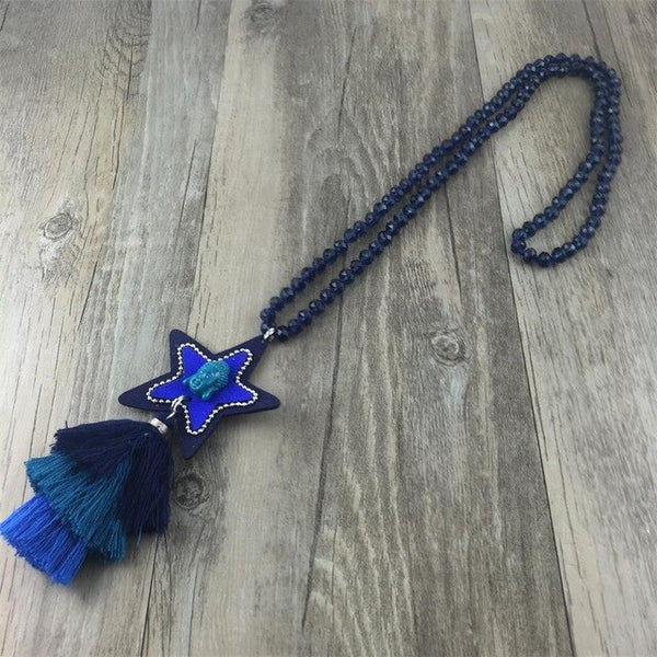Women Statement Necklaces Glass Bead String Long Necklace Female Star Flannel