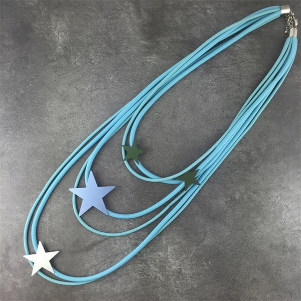 Statement Long Red Metal Star Necklace Rubber Lightweight Metal Casual Style