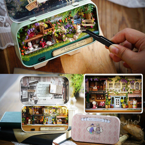 Box Theatre DIY Model Doll House Wooden Miniature Dollhouse Toys