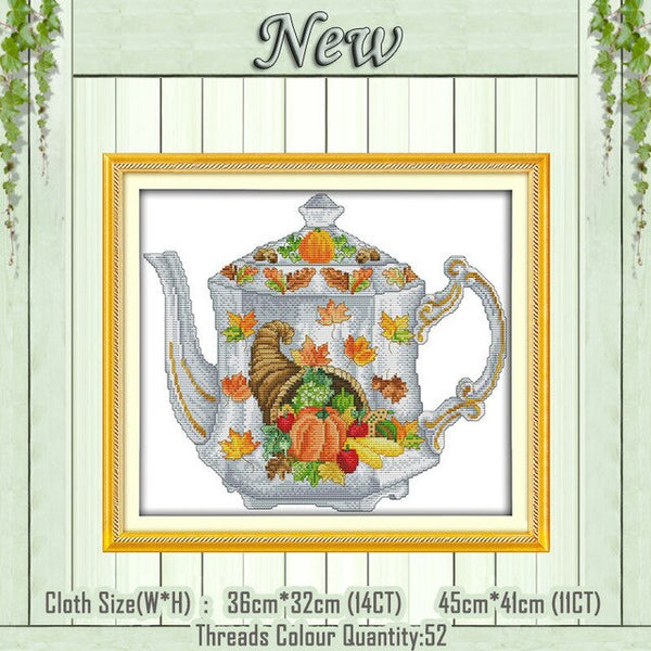 Elegant coffee cup tea set Teapot painting counted print on the canvas DMC 11CT 14CT kits Cross Stitch