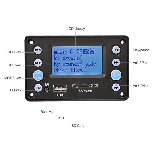 LCD MP3 Decoder Board Bluetooth 4.2 Audio Receiver APE FLAC WMA WAV Decoding Support Recording
