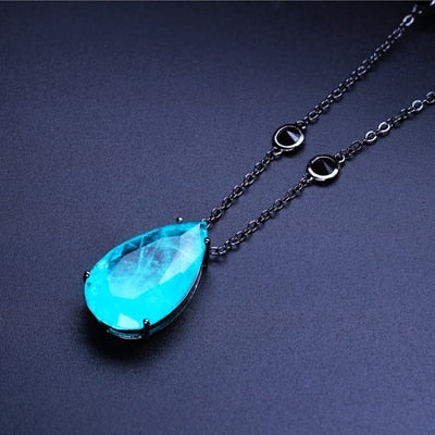 stone necklace water drop pendant with cubic zirconia necklace NWX0017302