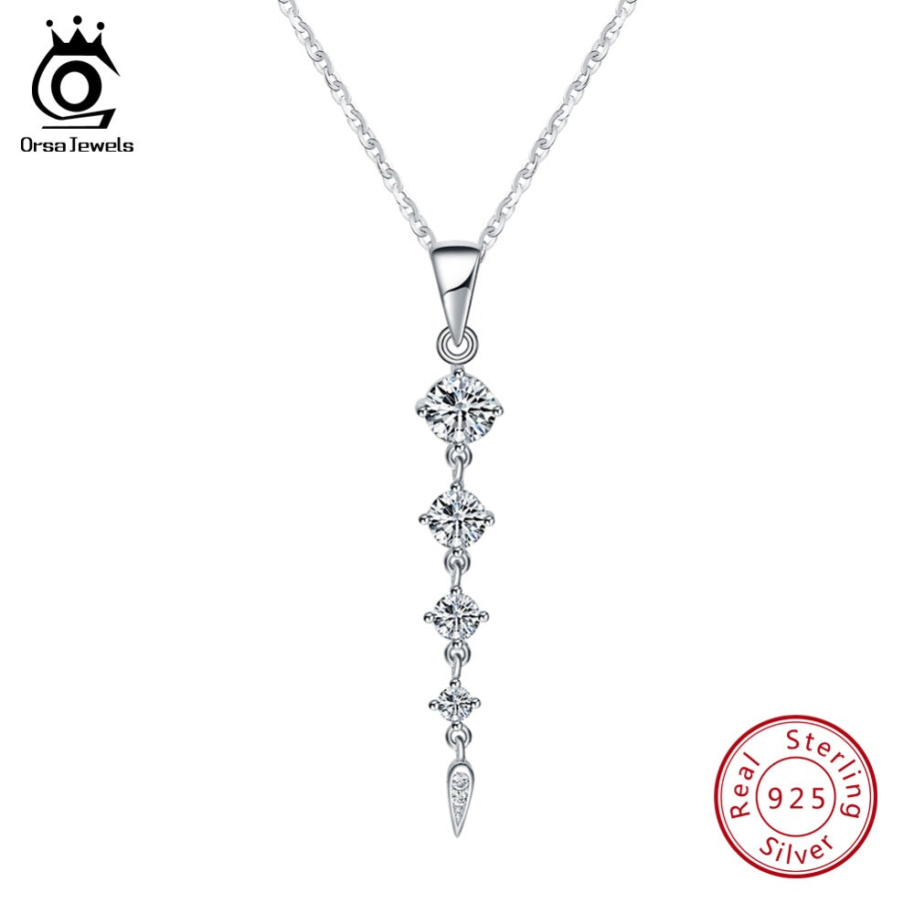 925 Sterling Silver Long Leaf Shape Pendant Necklaces Fine Jewelry SN76