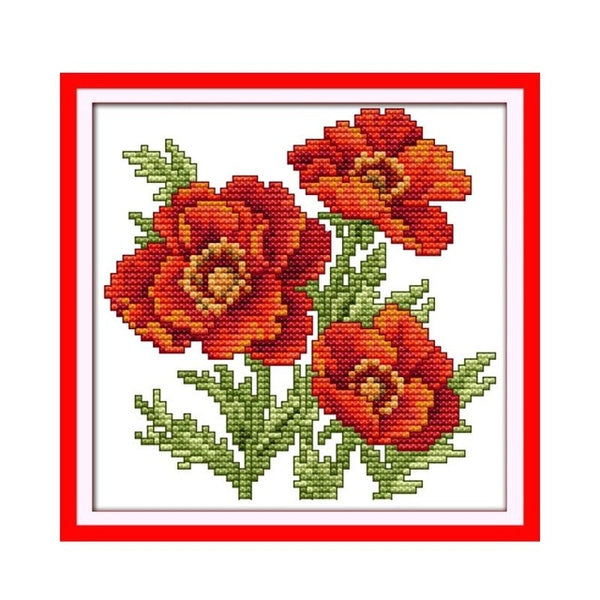 Small happy flowers DIY Embroidery Cross Stitch Kit Small size flowers family decorative patterns
