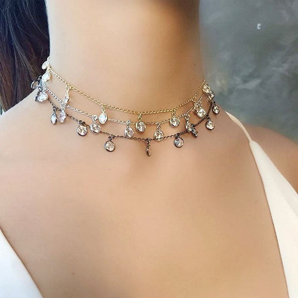 Water Drop Choker Necklace  High Quality double-faced Zircon