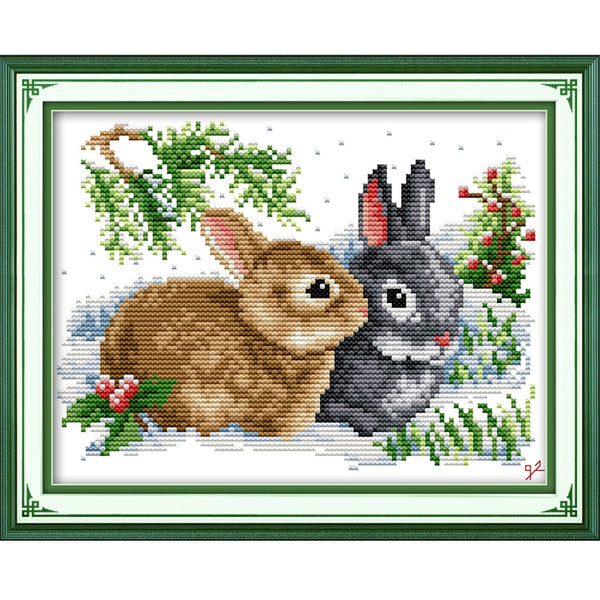 Lucky rabbits Handmade Cross Stitch DMC 11CT 14CT Kits