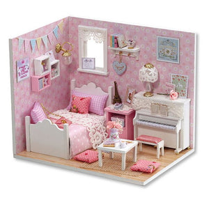 Doll House Furniture Diy Miniature Dust Cover 3D Wooden Miniaturas Toys for Children Diary H16