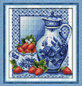Blue and White Porcelain Fruite Painting Chinese Cross Stitch  DMC 14CT 11CT Kits