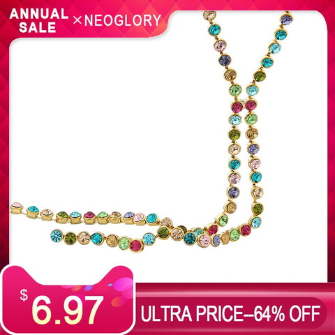 Austria Rhinestone Colorful Charm Round Beads Long Chain Necklace
